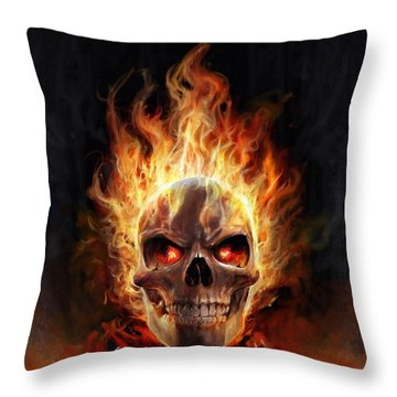 Throw Pillow featuring the digital art Flaming Skull by Steve Goad