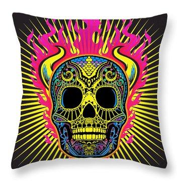 Flaming Skull Throw Pillow by Tony Rubino