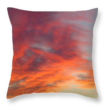 Flaming Sunset Clouds. Throw Pillow