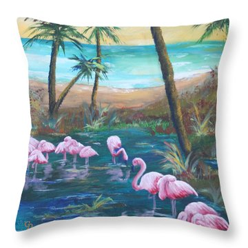 Flamingo Beach Throw Pillow