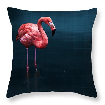 Flamingo - Blue Throw Pillow by Hannes Cmarits