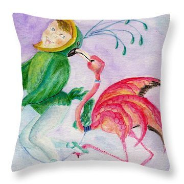 Flamingo Circus Throw Pillow
