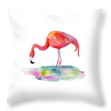 Flamingo Dip Throw Pillow by Amy Kirkpatrick