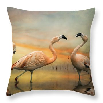 Flamingo Dusk Throw Pillow by Brian Tarr