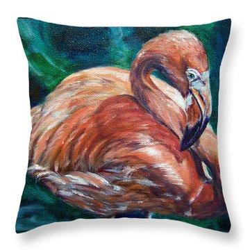 Flamingo Flare Throw Pillow