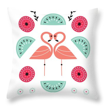 Flamingo Flutter Throw Pillow by Susan Claire