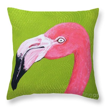 Flamingo Head Throw Pillow