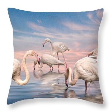 Flamingo Lagoon Throw Pillow