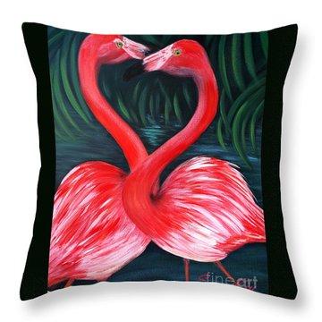 Flamingo Love Card Throw Pillow by Oksana Semenchenko