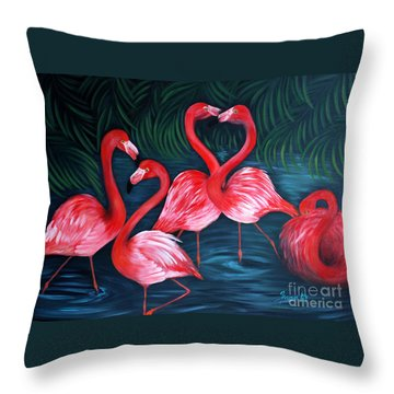 Flamingo Love. Inspirations Collection. Special Greeting Card Throw Pillow