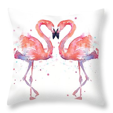 Flamingo Love Watercolor Throw Pillow