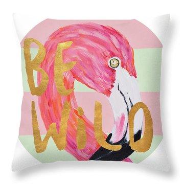 Flamingo On Stripes Round Throw Pillow