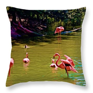 Flamingo Party Throw Pillow by Luther Fine Art