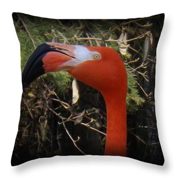 Flamingo Profile Throw Pillow