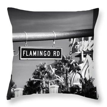 Flamingo Road Throw Pillow by John Rizzuto