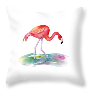 Flamingo Step Throw Pillow by Amy Kirkpatrick