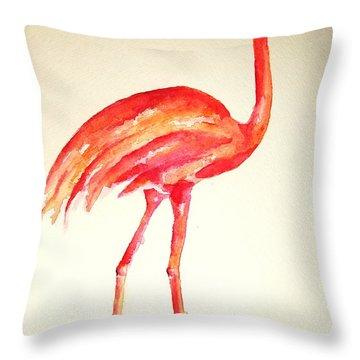 Flamingo Strut Throw Pillow