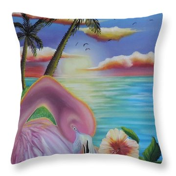 Throw Pillow featuring the painting Flamingo Sunset by Dianna Lewis