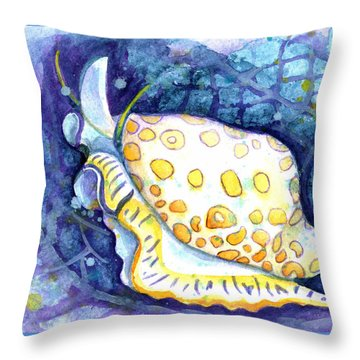 Throw Pillow featuring the painting Flamingo Tongue by Ashley Kujan