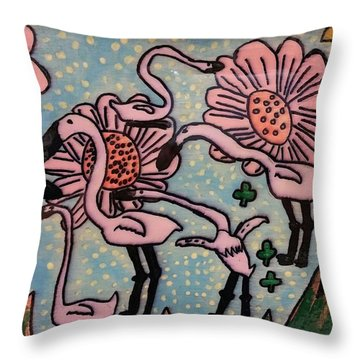 Throw Pillow featuring the painting Flamingo Tray by Artists With Autism Inc