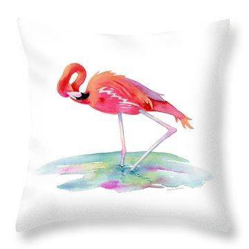 Flamingo View Throw Pillow by Amy Kirkpatrick