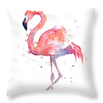 Flamingo Watercolor Throw Pillow