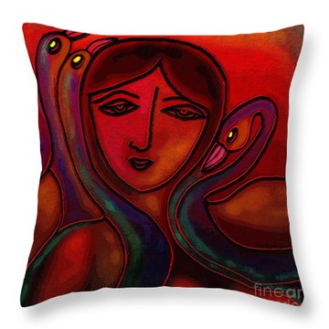 Throw Pillow featuring the digital art Flamingoes- Mural Style by Latha Gokuldas Panicker