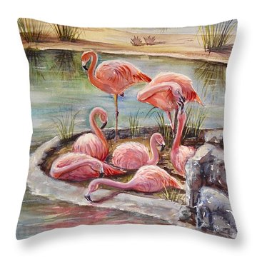 Flamingoes Pond Throw Pillow