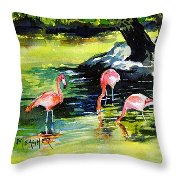 Flamingos At The St Louis Zoo Throw Pillow by Spencer Meagher