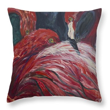 Flamingos Throw Pillow by Avonelle Kelsey