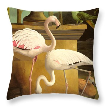 Flamingos Throw Pillow by Lizzie Riches