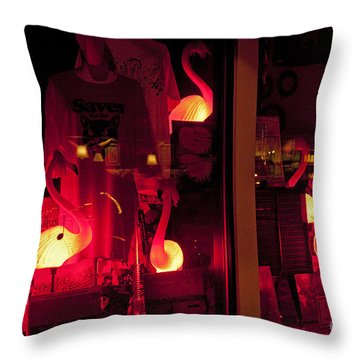 Flamingos On Market Street Throw Pillow