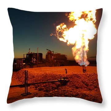 Flare And A Vacuum Truck Throw Pillow by Jeff Swan