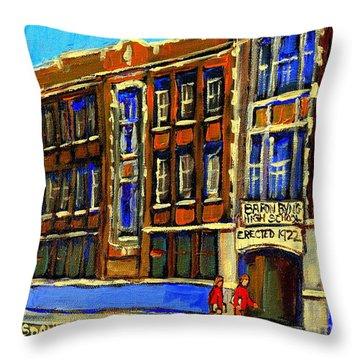 Flashback To Sixties Montreal Memories Baron Byng High School Vintage Landmark St. Urbain City Scene Throw Pillow by Carole Spandau