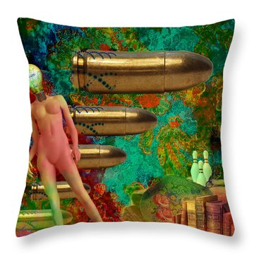 Throw Pillow featuring the mixed media Flashbacks by Ally  White