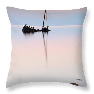 Flat Calm Shipwreck  Throw Pillow by Grant Glendinning