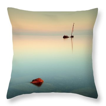 Flat Calm Shipwreck Sunrise Throw Pillow