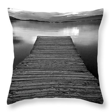 Flathead Lake Dock Sunset - Black And White Throw Pillow by Brian Stamm