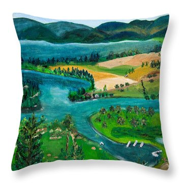 View Of Flathead River And Lake Throw Pillow