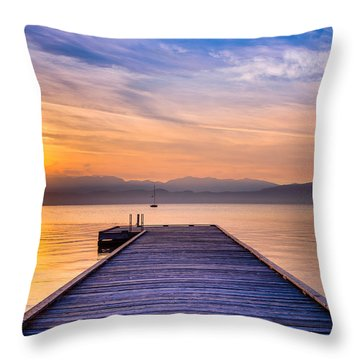 Flathead Lake Sunrise Throw Pillow