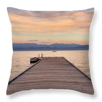Flathead Lake Sunset Throw Pillow
