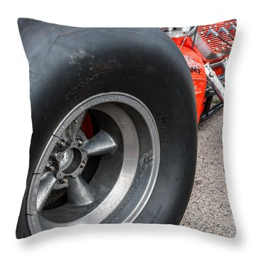 Flathead Powered Front Engine Dragster Throw Pillow
