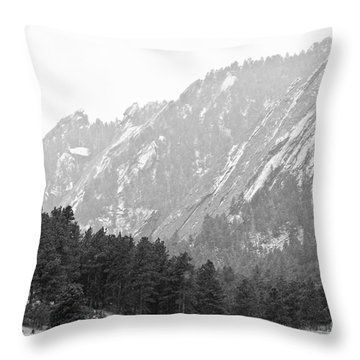 Flatiron In Black And White Boulder Colorado Throw Pillow by James BO  Insogna