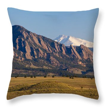 Flatirons And Snow Covered Longs Peak Panorama Throw Pillow