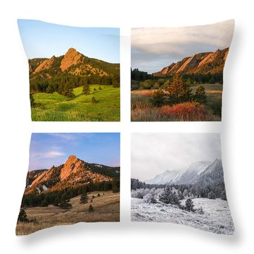 Flatirons Four Seasons With Border Throw Pillow