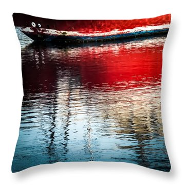 Red Boat Serenity Throw Pillow by Karen Wiles