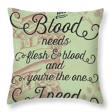 Flesh And Blood - Johnny Cash Lyric Throw Pillow
