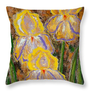 Fleur D' Iris Throw Pillow by Margaret Bobb