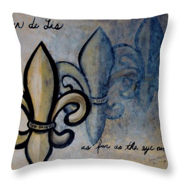 Fleur De Lis As Far As The Eye Can See Throw Pillow by June Holwell