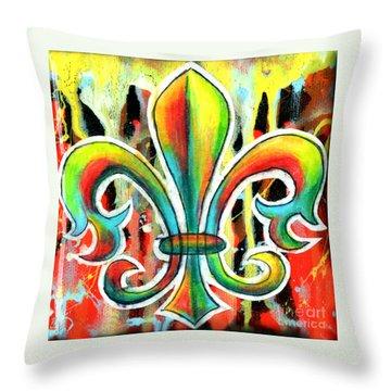 Fleur De Lis In Flames Throw Pillow by Genevieve Esson